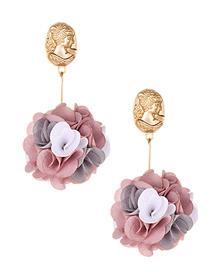 Fashion Leather Powder Alloy Head Flower Earrings