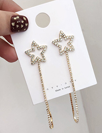 Fashion Gold Star Tassel With Diamond Chain Stud Earrings