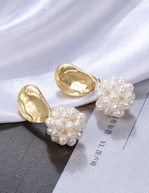 Fashion Gold S925 Silver Needle Pearl Flower Shell Irregular Earrings