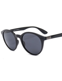 Fashion Bright Black Frame Full Gray Polarized Sunglasses