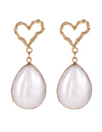 Fashion Gold Alloy Shell Love Earrings