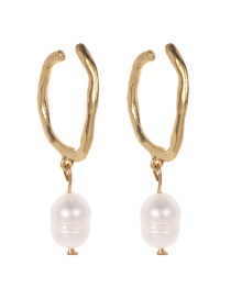 Fashion Gold Alloy Pearl Geometric Earrings