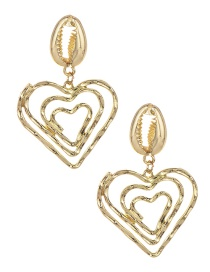 Fashion Gold Alloy Shell Hollow Love Earrings