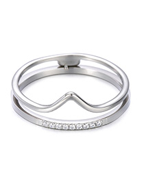 Fashion Steel Color Stainless Steel Crown Ring