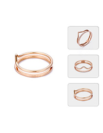 Fashion Rose Gold Stainless Steel Crown Ring