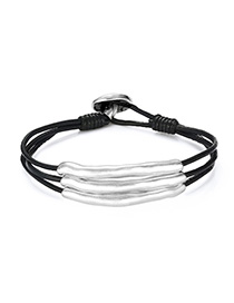 Fashion Silver + Black Alloy Braided Multi-layer Leather Rope Bracelet
