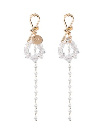 Fashion Gold Knotted Crystal Tassel Drops Pearl Stud Earrings