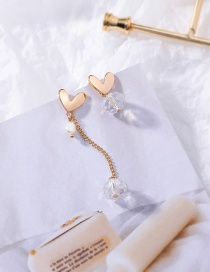 Fashion Long Section S925 Silver Needle Love Crystal Asymmetric Earrings