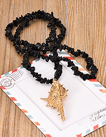 Fashion Black Natural Crystal Conch Sweater Chain
