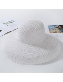 Fashion White (longer) Light Plate Curved Straw Hat
