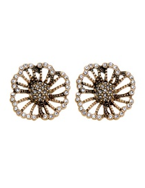 Fashion Ancient Gold Diamond Flower Earrings