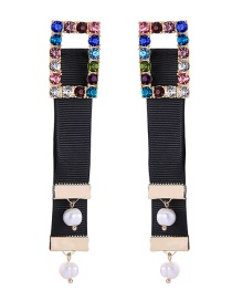 Fashion Black Diamond-studded Pearl Earrings