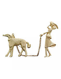 Fashion Gold Lady Holding Dog Bow Brooch