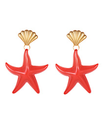 Fashion Rose Red Alloy Shell Pentagram Earrings