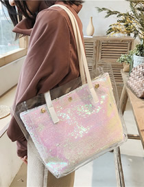 Fashion White One-shoulder Shopping Bag