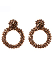 Fashion Brown Geometric Round Rice Earrings