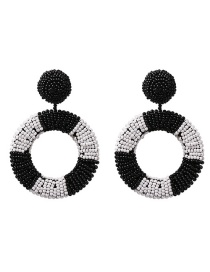 Fashion Black And White Geometric Round Rice Earrings