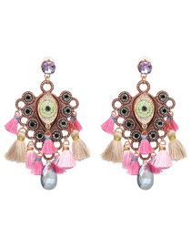 Fashion Color Fringed Alloy Inlaid Acrylic Drill Earrings