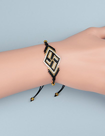 Fashion Black Rice Beads Woven Geometric Pattern Bracelet