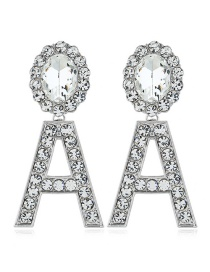 Fashion Silver Alloy Letter Diamond Earrings