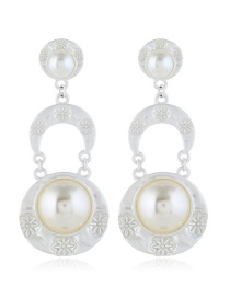 Fashion Silver Round Pearl Earrings