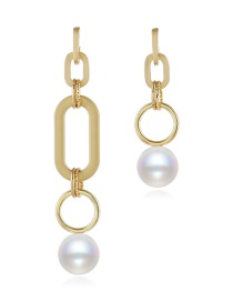 Fashion Gold Alloy Pearl And Diamond Earrings