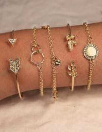 Fashion Gold Twig Ring With Diamonds Arrow Set Of 4 Bracelets