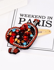 Fashion Red Alloy Resin Rhinestone Sequins Love Hairpin