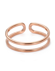 Fashion Rose Gold Adjustable Stainless Steel Double-layer Ring