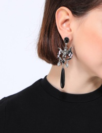Fashion Black Enamel Drip Oil And Diamond Stud Earrings
