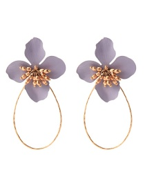 Fashion Gray Flower Earrings