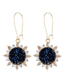 Fashion Black Alloy Sun Earrings