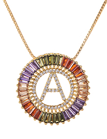 Fashion Gold Copper Inlaid Zircon Letter A Necklace