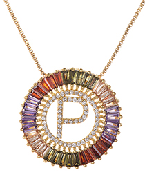 Fashion Gold Copper Inlaid Zircon Letter P Necklace