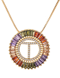 Fashion Gold Copper Inlaid Zircon Letter T Necklace