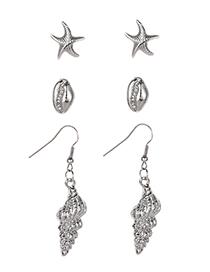 Fashion Black Alloy Shell Starfish Conch Stud Earring Set