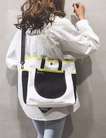Fashion Black Splicing Contrast Canvas Portable Messenger Bag