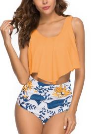 Fashion Earth Yellow + Flower Pants Pleated High Waist Swimsuit
