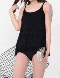 Fashion Black Mesh Split Swimsuit