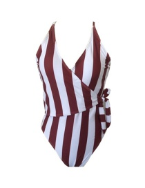 Fashion Wine Red Strip Striped Printed Halter One-piece Swimsuit