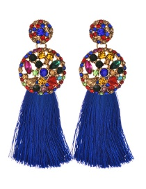 Fashion Royal Blue Alloy Diamond Round Tassel Earrings