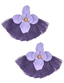 Fashion Purple Alloy Short Fringed Flower Earrings