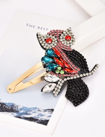 Fashion Color Alloy Rhinestone Owl Hair Clip