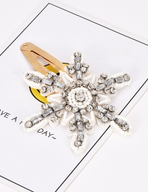 Fashion White Alloy Resin Rhinestone Snowflake Hair Clip