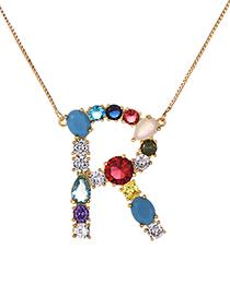 Fashion Gold Copper Inlaid Zirconium Letter R Necklace