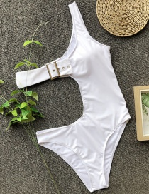 Fashion White Solid Color One-shoulder One-piece Swimsuit