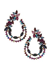 Fashion Color Alloy Diamond Colored Earrings