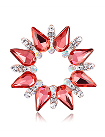 Fashion Red Diamond Glass Dripping Pin Scarf Buckle Dual Purpose