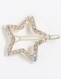 Fashion Gold Alloy Diamond-studded Five-pointed Star Hairpin