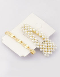 Fashion Gold Pearl Hair Clip Set 3